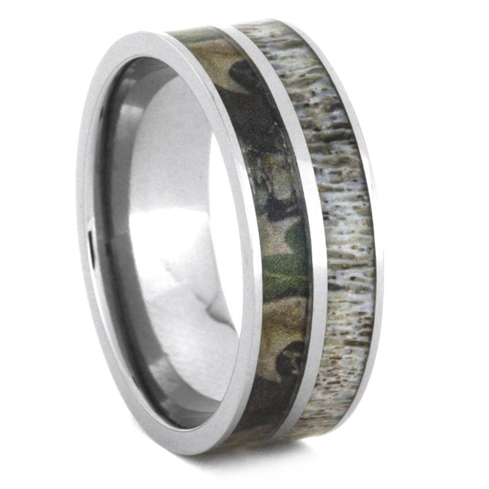 Wedding Ring Set With Moissanite And Deer Antler Rings 3436 Pertaining To Titanium Camo Wedding Rings (View 14 of 15)
