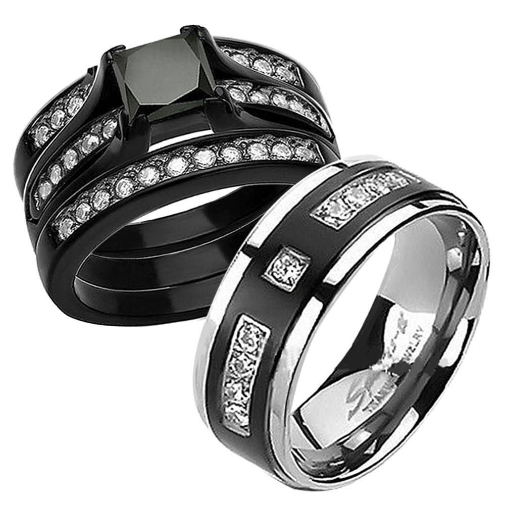 Wedding Ring Sets His And Hers Cheap | Wedding Ideas Intended For Black Titanium Wedding Bands Sets (View 13 of 15)