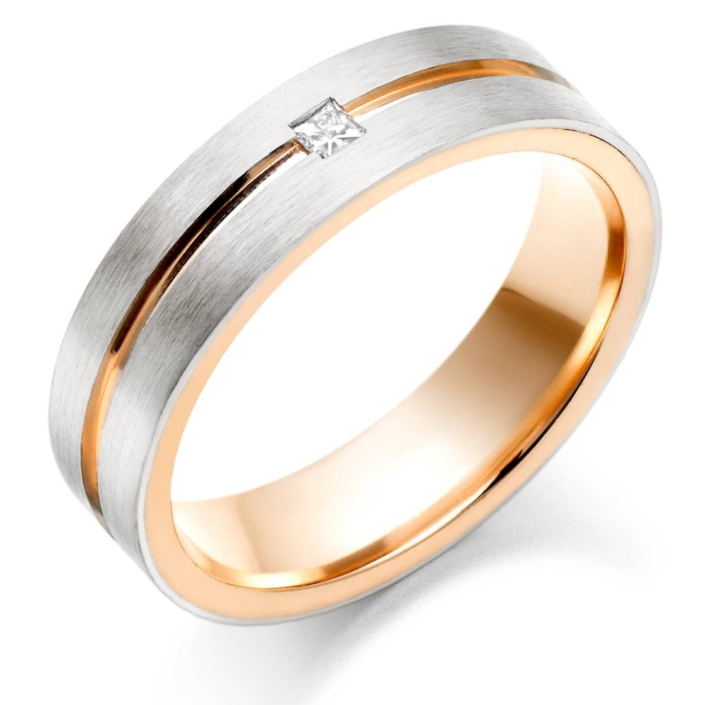 Wedding Rings : Beveled White Gold Mens Wedding Band White Gold In White And Gold Wedding Rings (View 13 of 15)