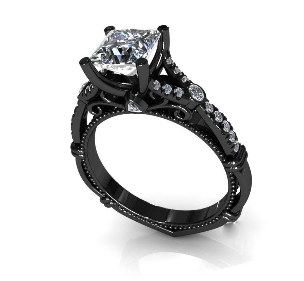 Wedding Rings : Black Diamond Wedding Rings For Him And Her The For Black Diamond Wedding Bands For Her (View 11 of 15)