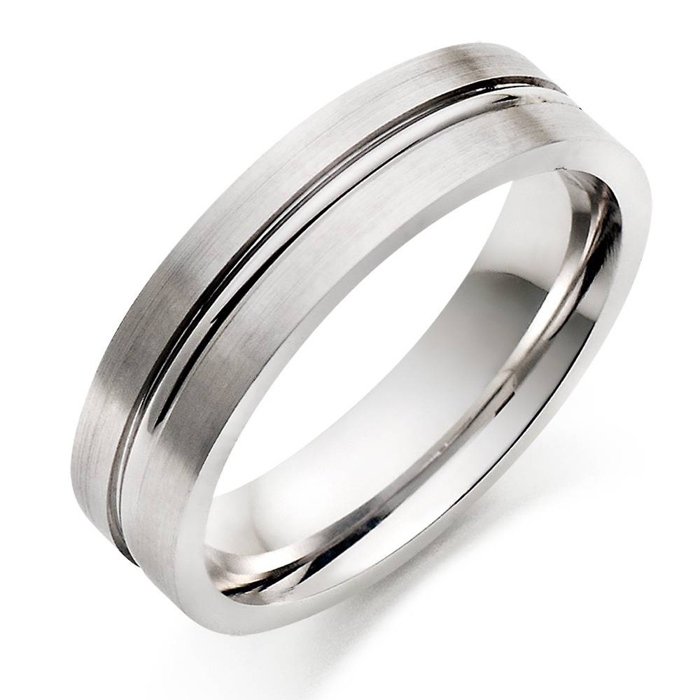 Wedding Rings : Brushed White Gold Mens Wedding Ring White Gold With Regard To White Gold Wedding Rings For Men (View 2 of 15)