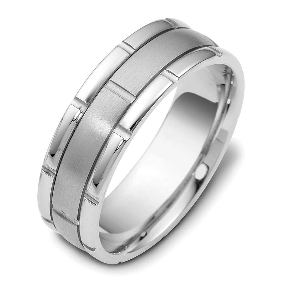 Wedding Rings : Brushed White Gold Mens Wedding Ring White Gold With White Gold Wedding Bands For Him (View 13 of 15)