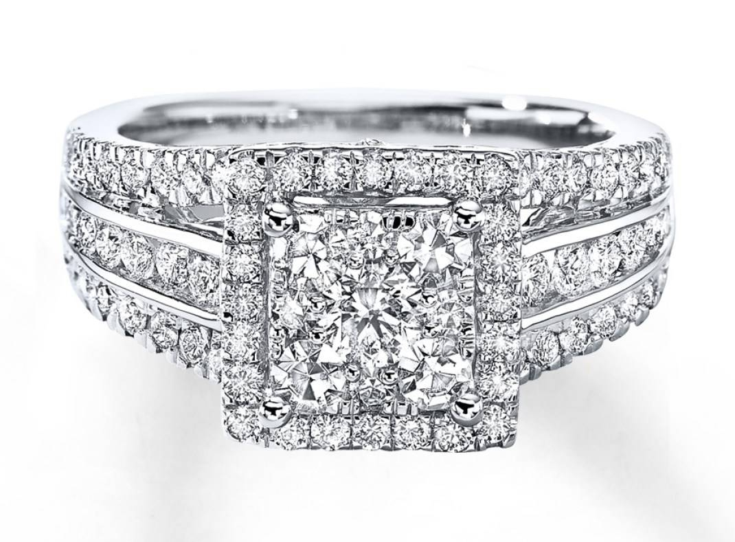 Wedding Rings : Diamond Engagement Ring 1 1 2 Cts Tw Round Cut 14K Inside Kay Jewelers Wedding Bands Sets (View 15 of 15)