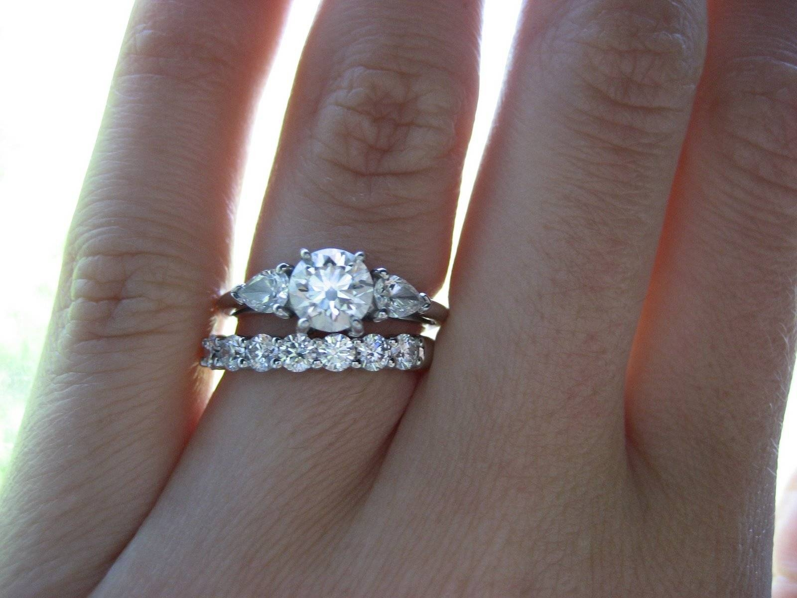 Wedding Rings : Emerald Cut Engagement Ring And Wedding Band Intended For Wedding Engagement Bands (View 5 of 15)