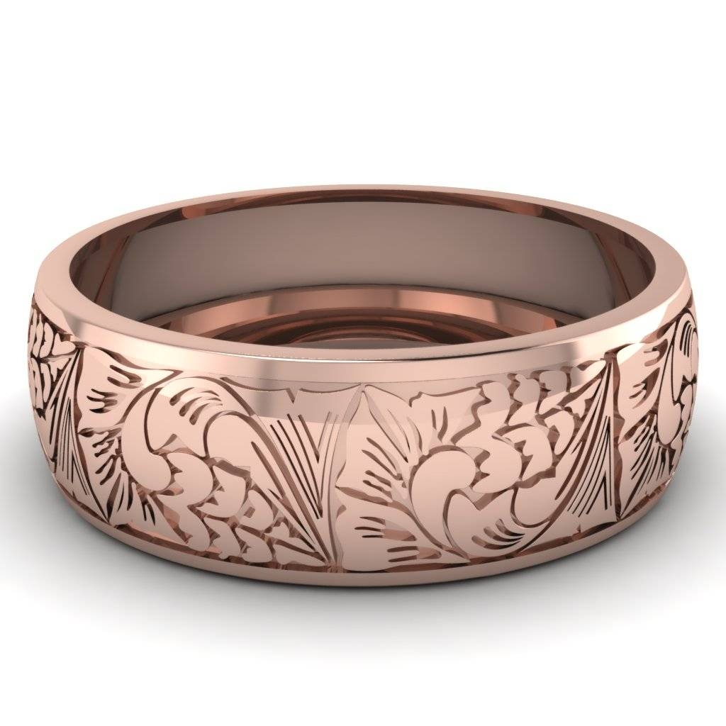 Wedding Rings : Engraved Wedding Band Rose Gold Engravable Wedding In Rose Gold Wedding Bands For Him (View 15 of 15)