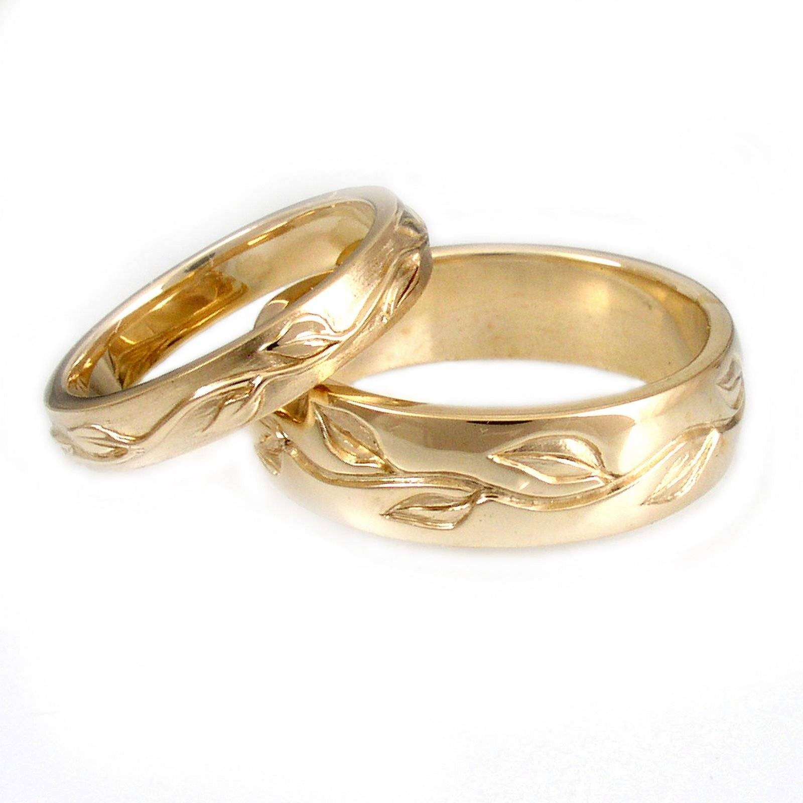Wedding Rings Ideas: Diamond Leaves Carved Bands His And Hers Within Carved Wedding Rings (View 14 of 15)