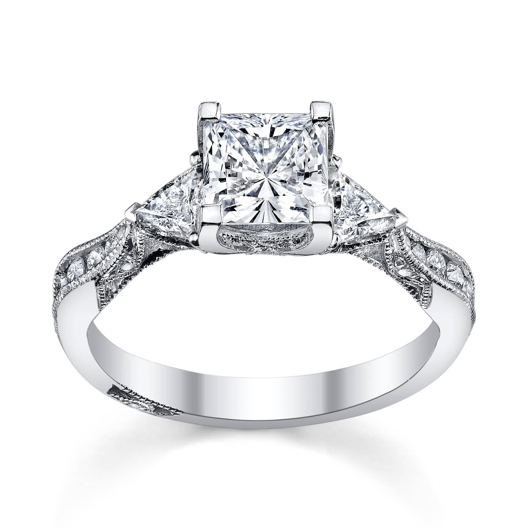 Wedding Rings : Princess Cut Diamond Engagement Ring And Wedding For Princess Cut Wedding Rings For Women (View 8 of 15)