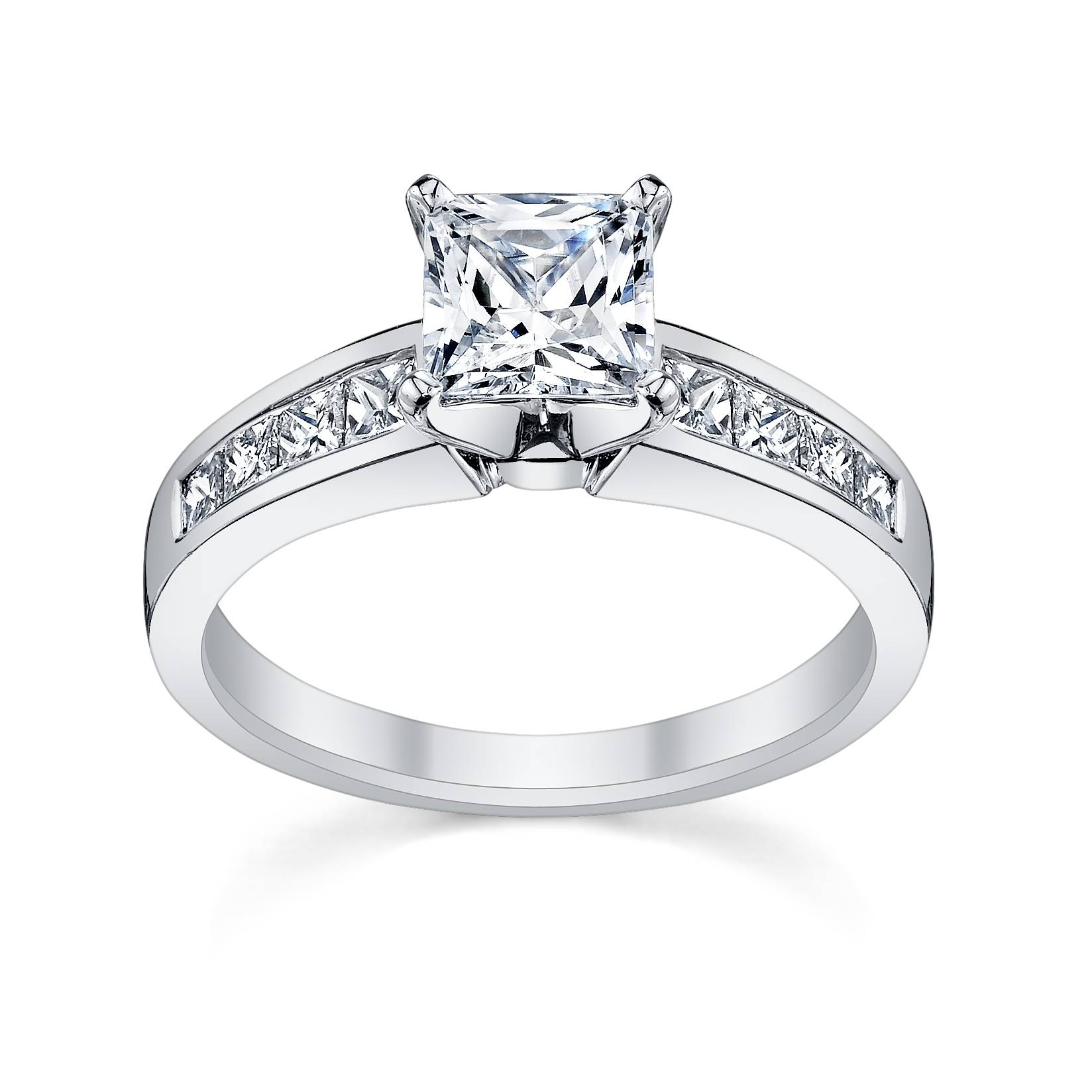 Wedding Rings : Princess Cut Diamond Engagement Ring And Wedding Intended For Princess Cut Diamond Wedding Rings (Gallery 3 of 15)