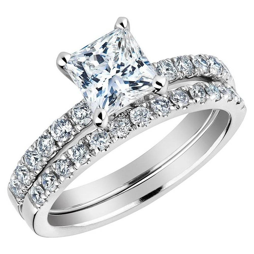 Wedding Rings : Princess Cut Diamond Engagement Ring And Wedding Throughout Princess Cut Diamond Wedding Rings (View 15 of 15)