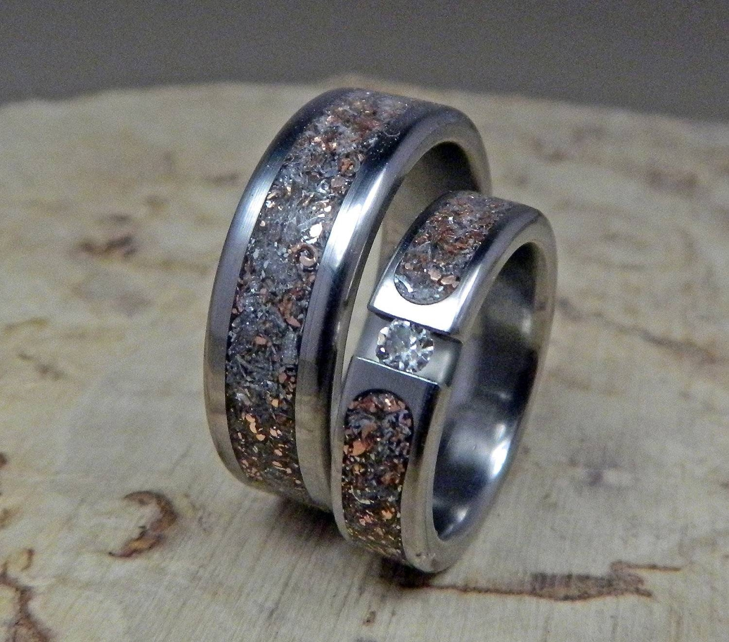 Wedding Rings, Titanium Rings, Wedding Band Set, His And Hers Pertaining To Handmade Mens Wedding Rings (View 15 of 15)