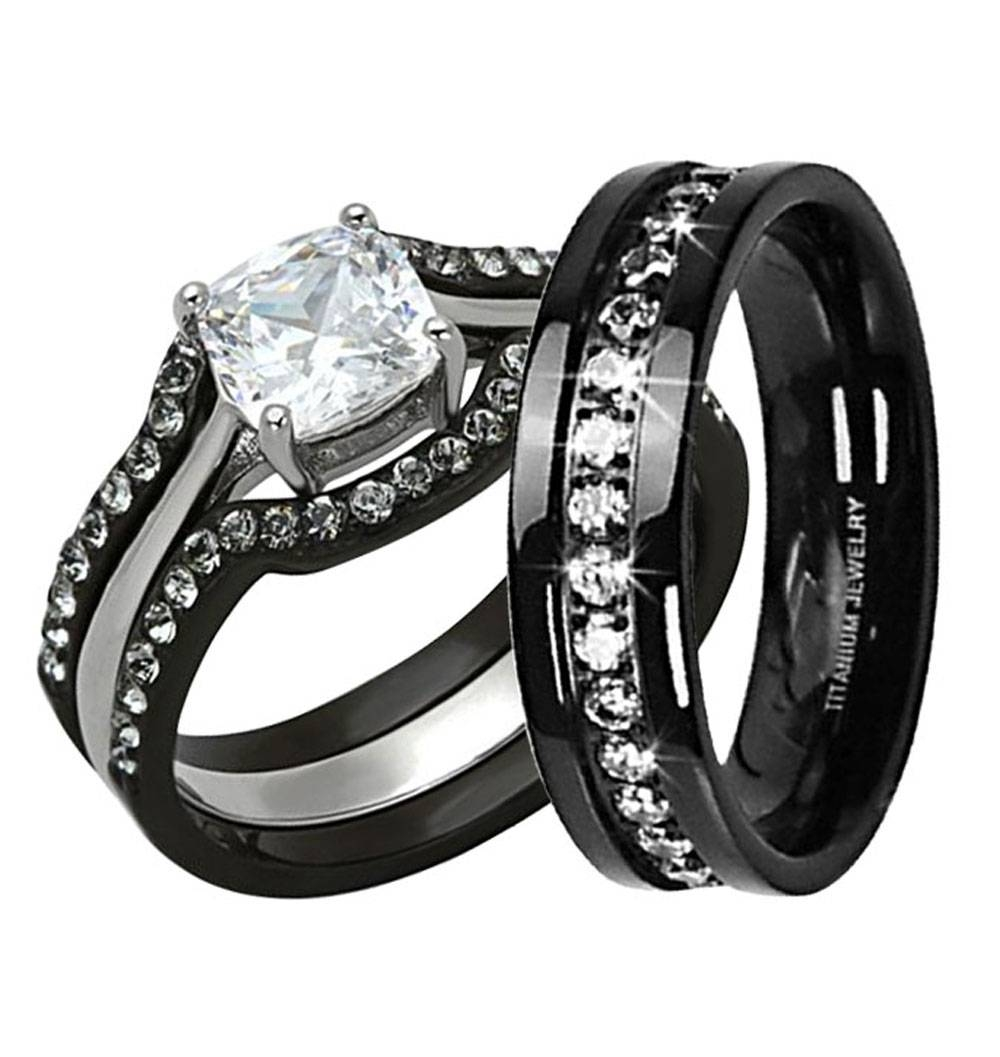 Wedding Rings : Titanium Wedding Rings For Her The Elegant With Regard To Black Diamond Wedding Bands For Her (View 13 of 15)