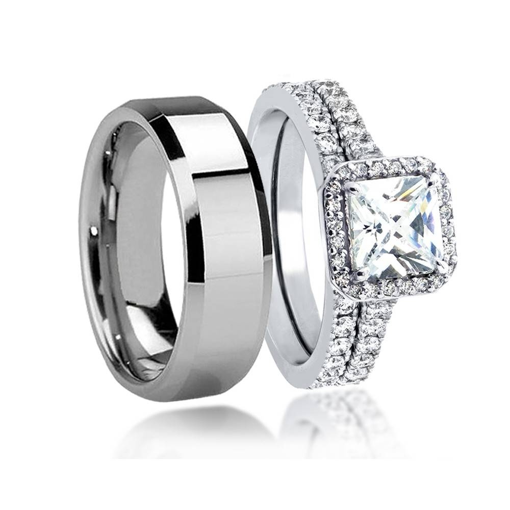 Wedding Rings : Tungsten Wedding Rings Sets Tungsten Wedding Rings Within Men And Women Wedding Bands Sets (View 12 of 15)