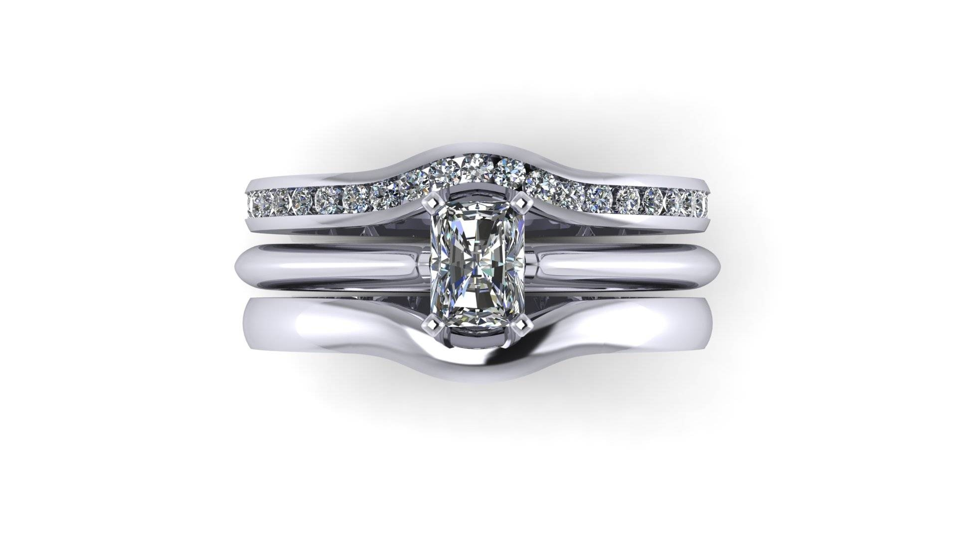Wedding Rings : Wedding Band For Emerald Cut Engagement Ring Pertaining To Wedding Band That Fits Around Engagement Rings (View 12 of 15)