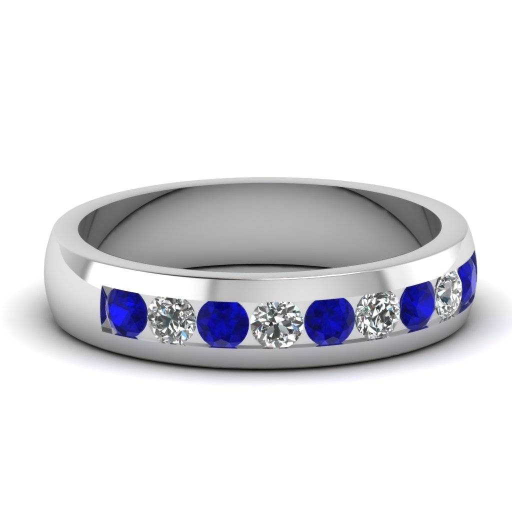 Wedding Rings : White Gold And Sapphire Mens Wedding Band White In Men's Blue Sapphire Wedding Bands (View 11 of 15)