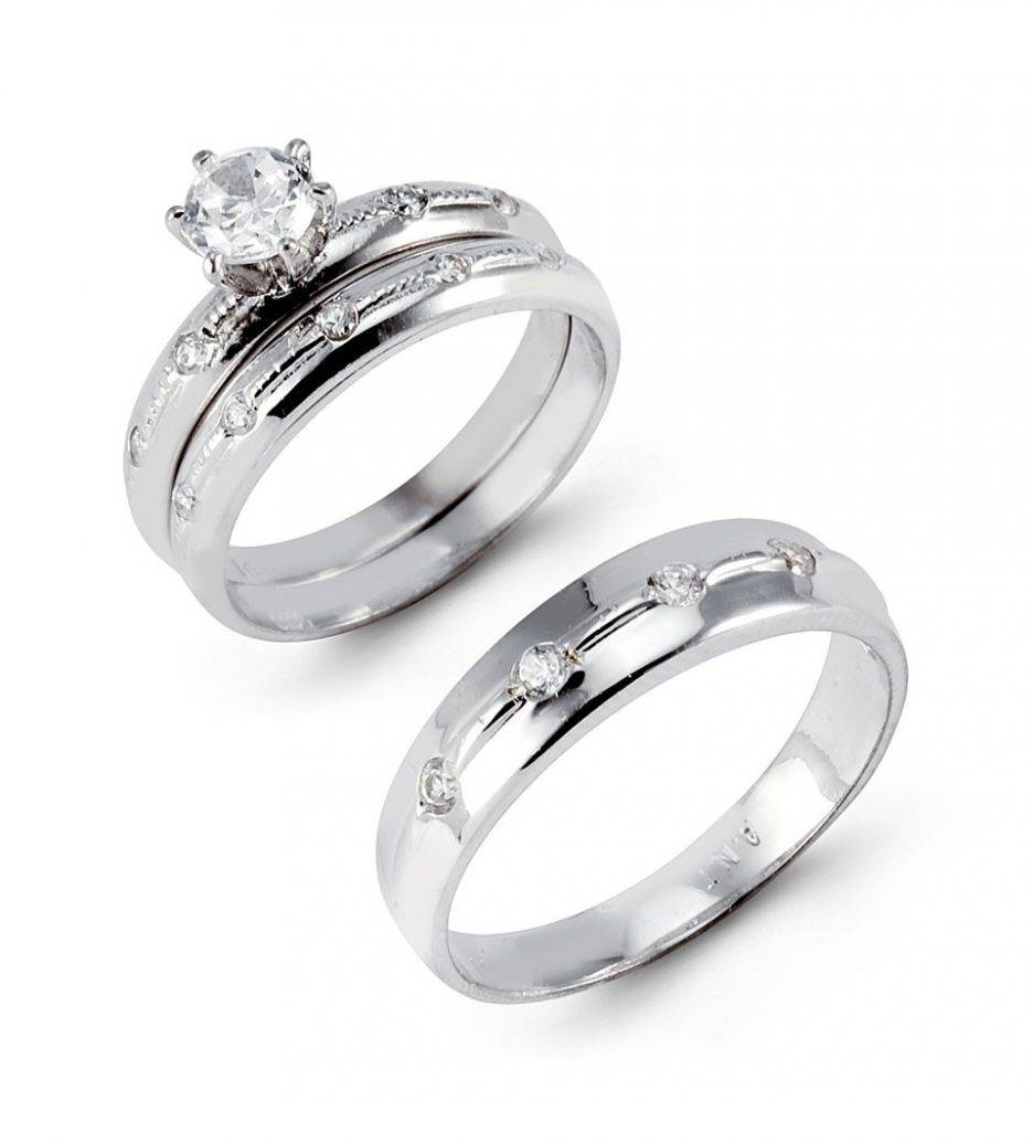 Wedding Rings : White Gold Wedding Ring Sets Gold Bridal Set Rings In Wedding Rings With Engagement Ring Sets (View 13 of 15)