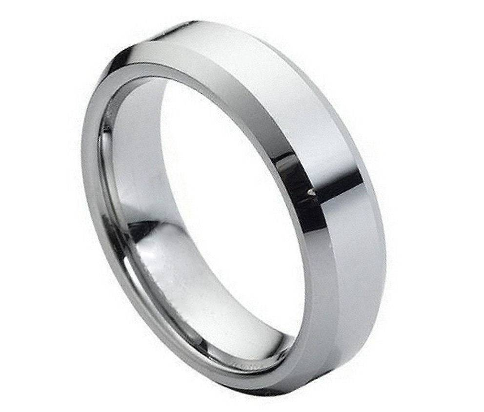 Wedding Rings White Tungsten Bands Pertaining To Engagement For Her