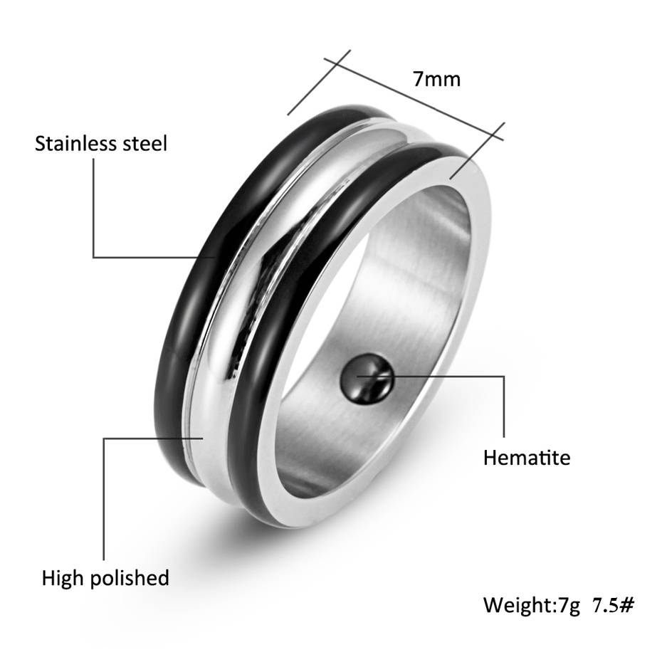 Welmag Men's Trendy Party Hematite Health Magnetic Ring Bio Energy In Hematite Wedding Bands (View 14 of 15)