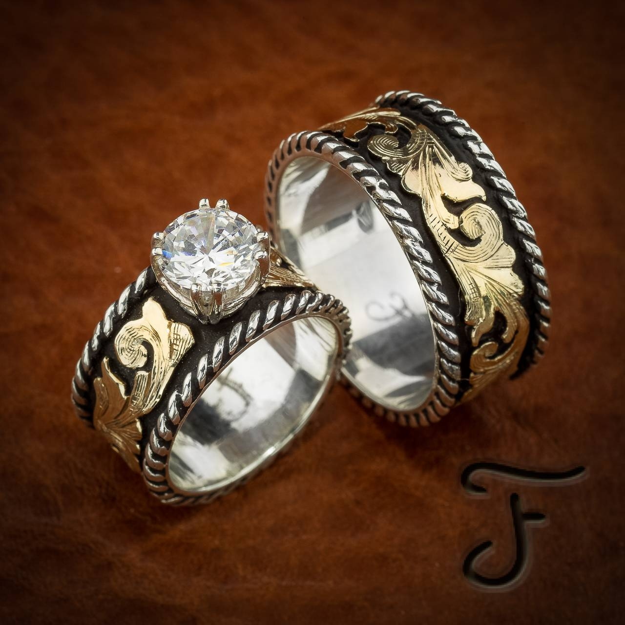 bands engagementring western ring jewelry and engagement wedding rings cowboy pin engraving
