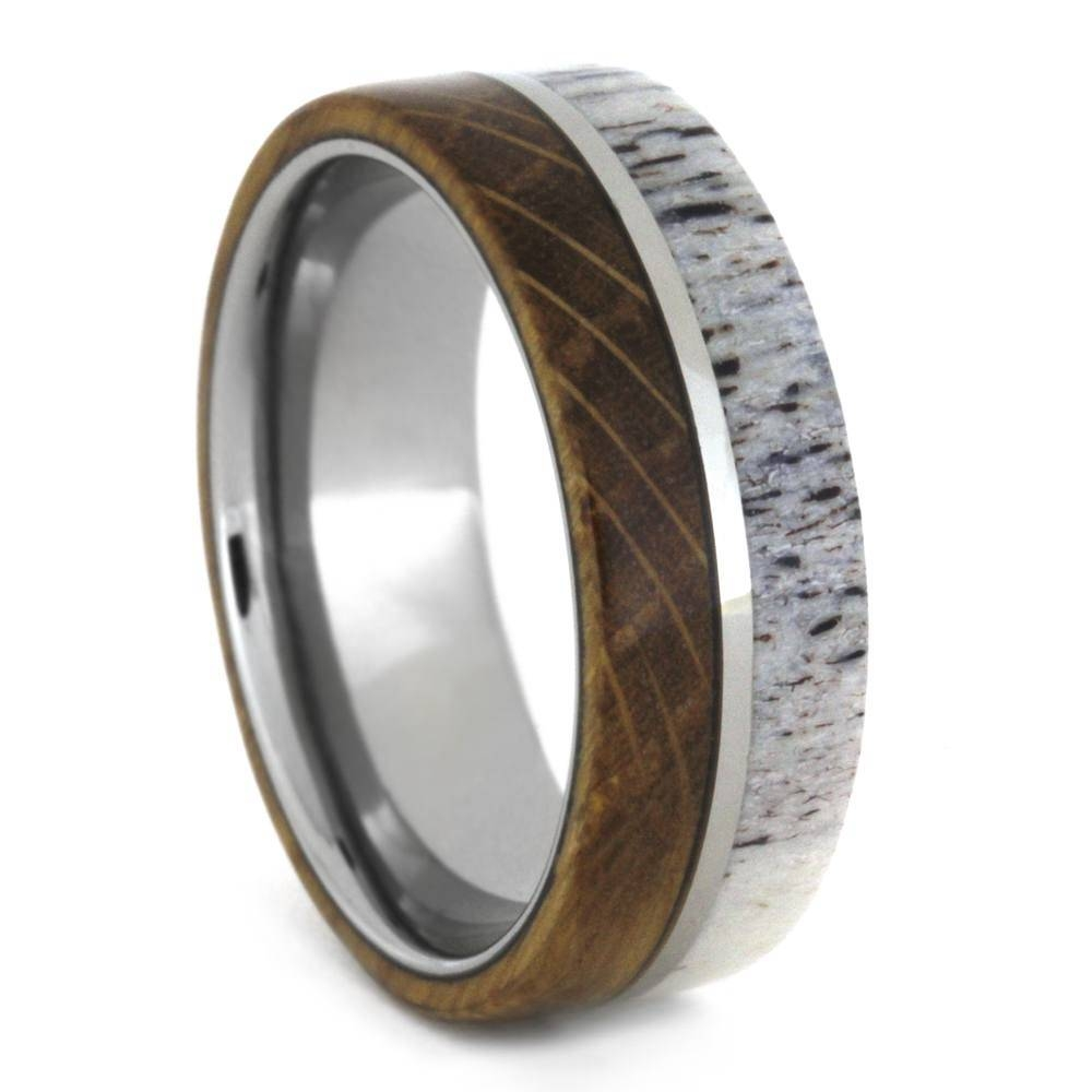 Whiskey Barrel Ring With Deer Antler Inlay, Mens Wedding Band Within Mens Wedding Bands With Deer Antlers (View 5 of 15)