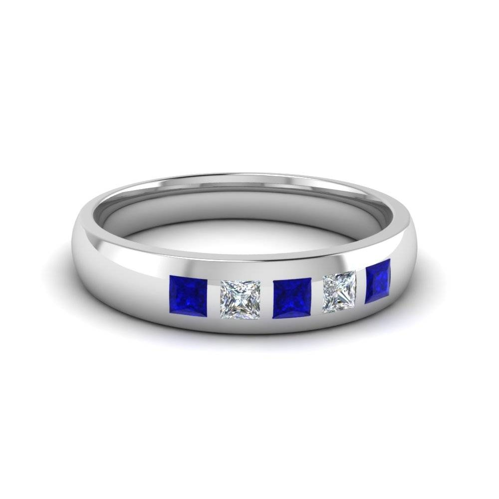 White Gold And Sapphire Mens Wedding Band White Gold Mens Wedding Pertaining To Men's Wedding Bands With Sapphires (View 10 of 15)
