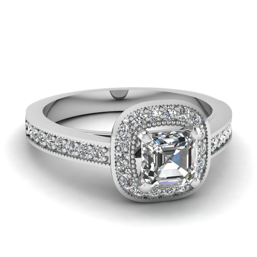 White Gold Asscher White Diamond Engagement Wedding Ring In Pave With Asscher Cut Wedding Rings (View 5 of 15)