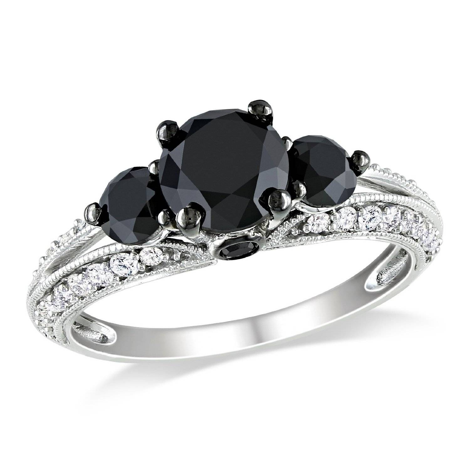 White Gold Black & White Diamond Engagement Ring – Unusual For Black Gold Diamond Wedding Rings (View 15 of 15)
