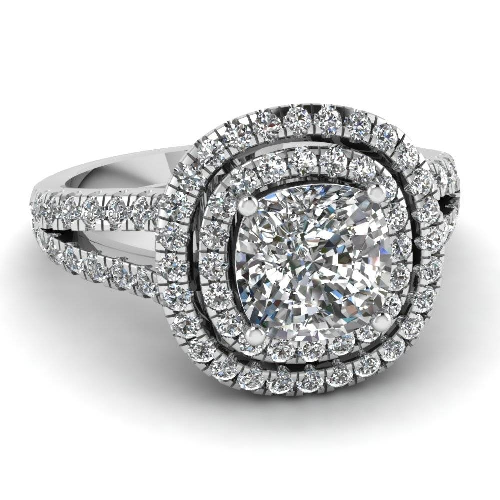 White Gold Cushion White Diamond Engagement Wedding Ring In Pave Throughout Bling Wedding Rings (View 12 of 15)