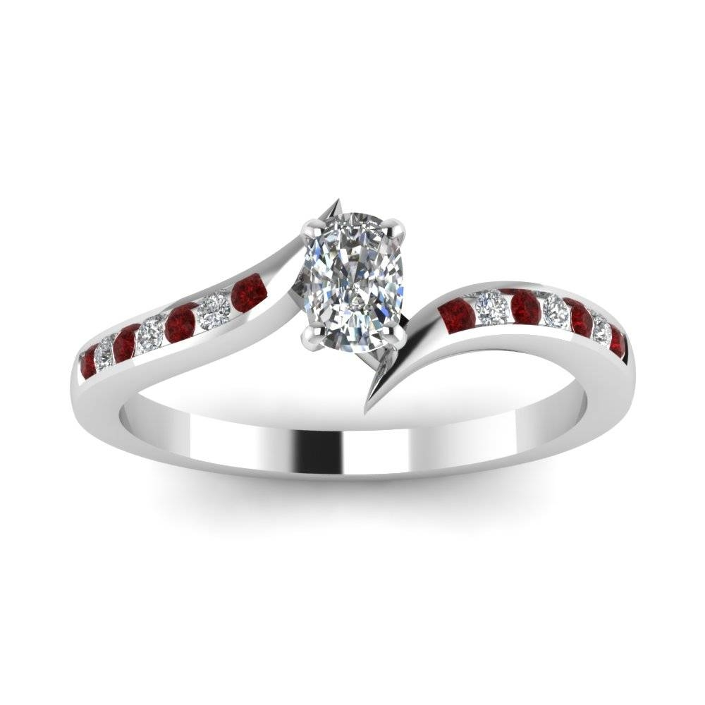 White Gold Cushion White Diamond Engagement Wedding Ring With Red Intended For Ruby Diamond Wedding Rings (View 14 of 15)