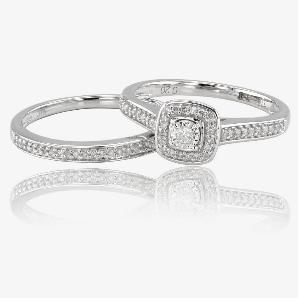 White Gold Diamond Cluster Bridal Set With White Gold Engagement Rings (View 13 of 15)