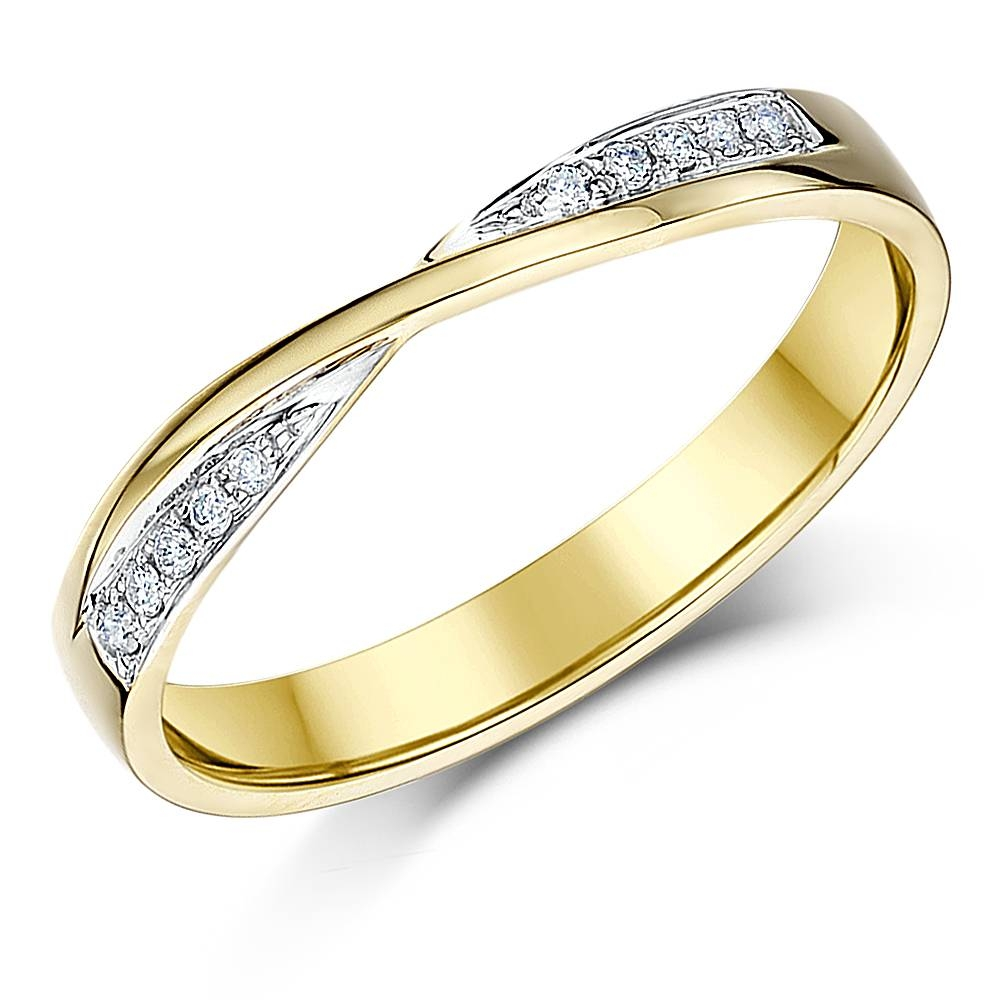 White Gold Diamond Rings And Wedding Bands: 18Ct And 9Ct White With White Gold And Yellow Gold Wedding Rings (View 13 of 15)