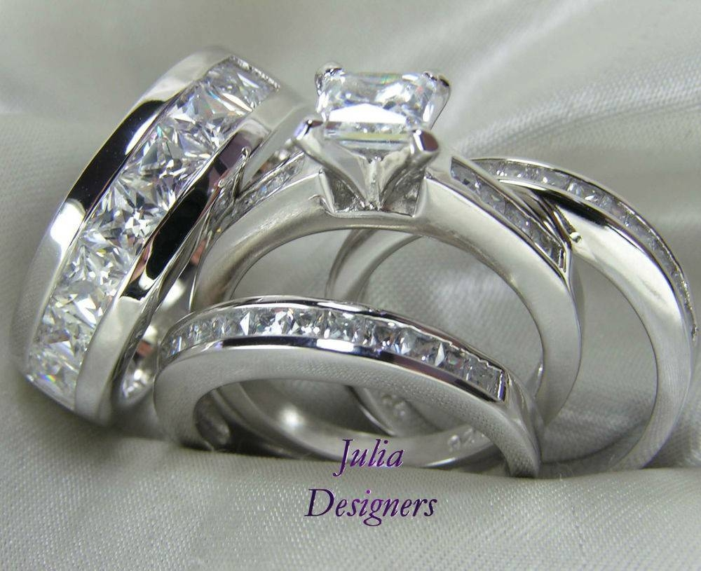 White Gold Diamond Trio Engagement Wedding Ring Set For Him And Pertaining To Engagement Ring Sets For Him And Her (View 6 of 15)
