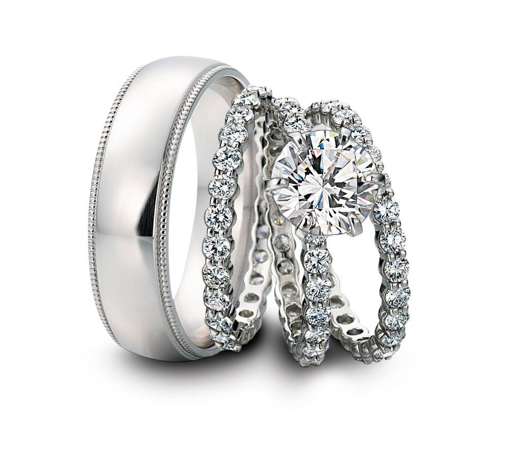 White Gold Diamond Trio Engagement Wedding Ring Set For Him And With Regard To Wedding Bands Sets For Him And Her (View 15 of 15)
