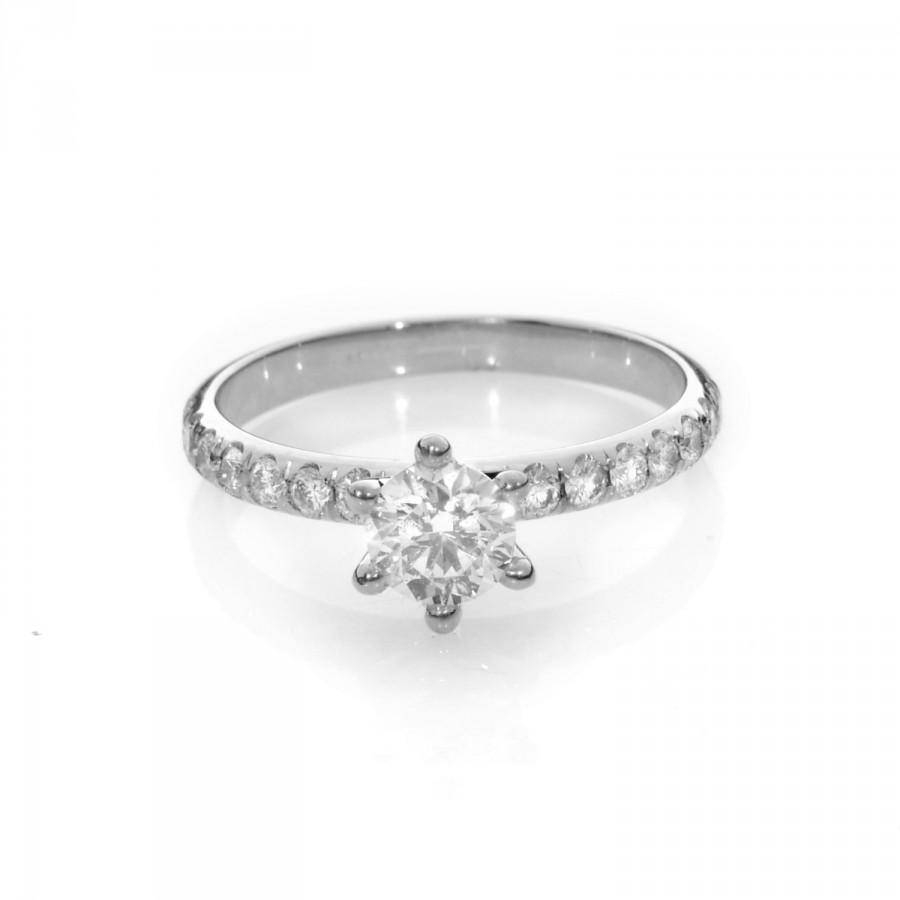 White Gold Engagement Ring , White Gold Diamond Engagement Ring With Wedding Rings With Diamond Band (View 15 of 15)