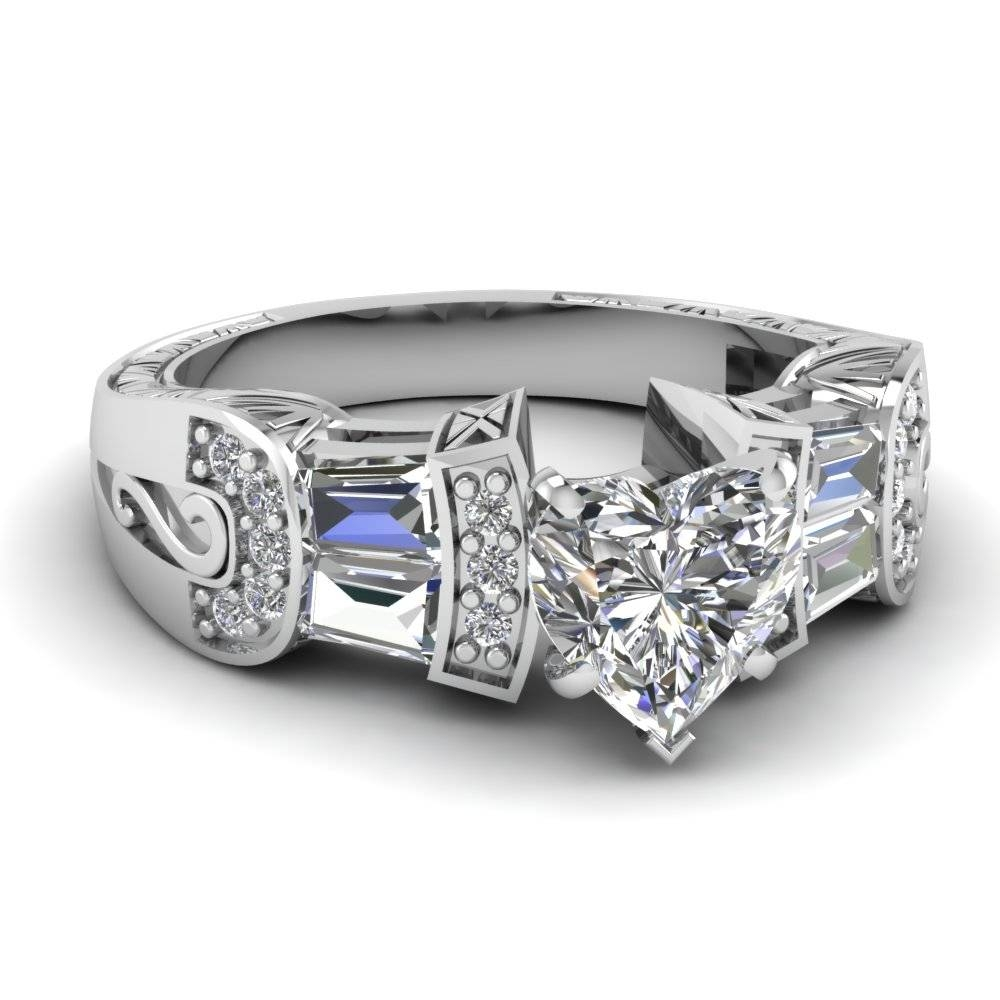 White Gold Heart White Diamond Engagement Wedding Ring In Pave Intended For Wide Band Wedding Rings Sets (View 12 of 15)