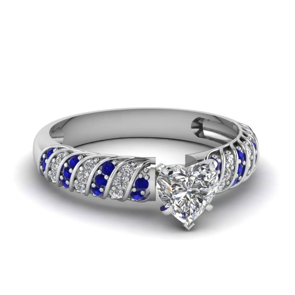 White Gold Heart White Diamond Engagement Wedding Ring With Blue For Blue Sapphire And Diamond Wedding Bands (View 9 of 15)