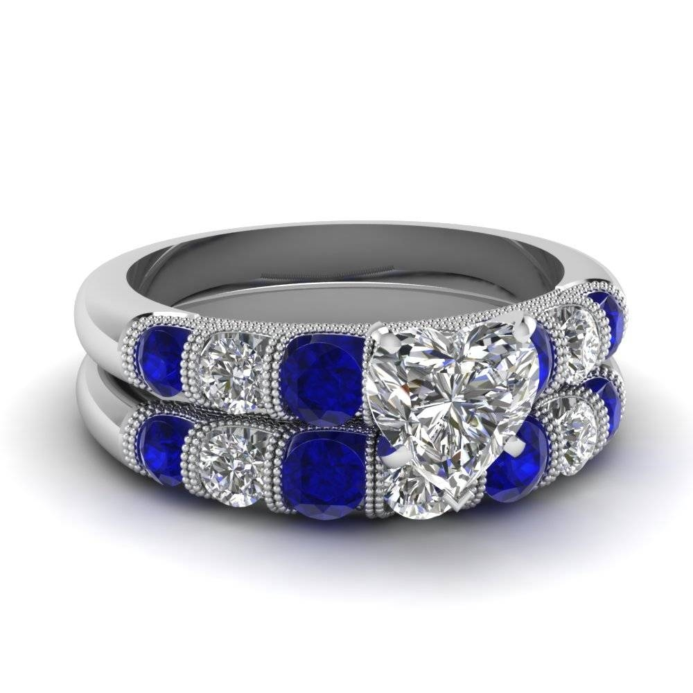 White Gold Heart White Diamond Engagement Wedding Ring With Blue Within Blue Sapphire Wedding Rings (View 15 of 15)