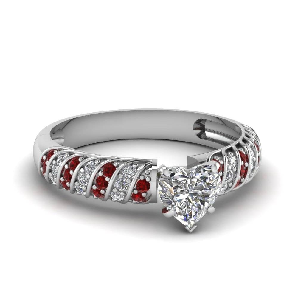 White Gold Heart White Diamond Engagement Wedding Ring With Red Pertaining To Platinum Engagement And Wedding Rings Sets (View 14 of 15)