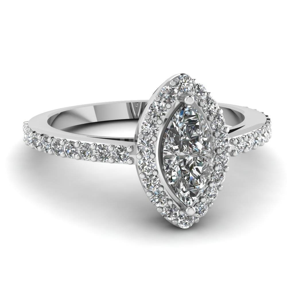 White Gold Marquise White Diamond Engagement Wedding Ring In Pave Pertaining To Engagement Wedding Rings (Gallery 9 of 15)