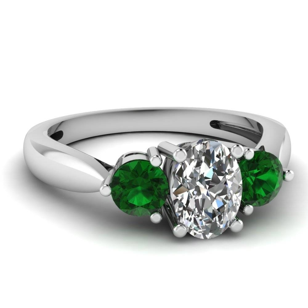 White Gold Oval White Diamond Engagement Wedding Ring Green Within Emerald And Diamond Wedding Rings (View 13 of 15)