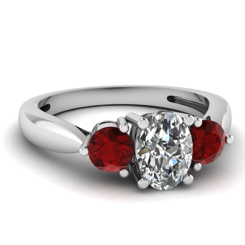 White Gold Oval White Diamond Engagement Wedding Ring Red Ruby In Regarding White Gold Ruby Wedding Rings (View 3 of 15)