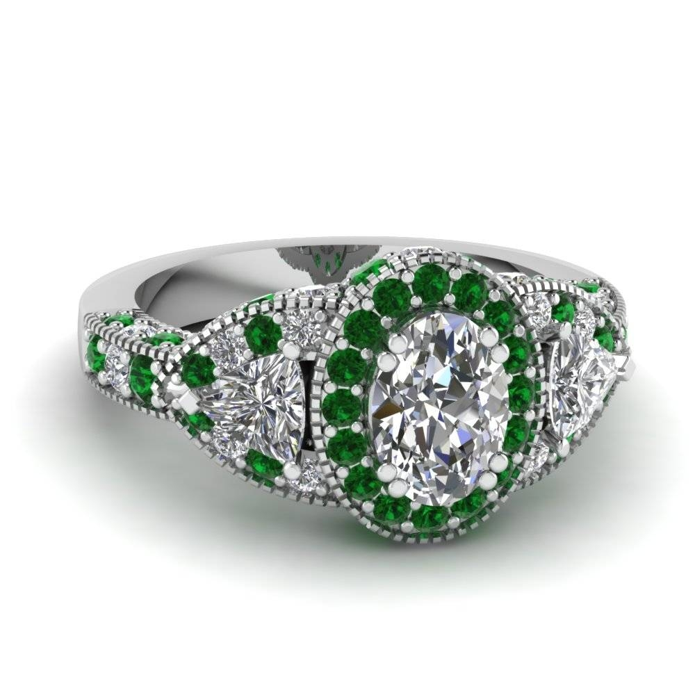 White Gold Oval White Diamond Engagement Wedding Ring With Green Within Oval Emerald Engagement Rings (View 15 of 15)