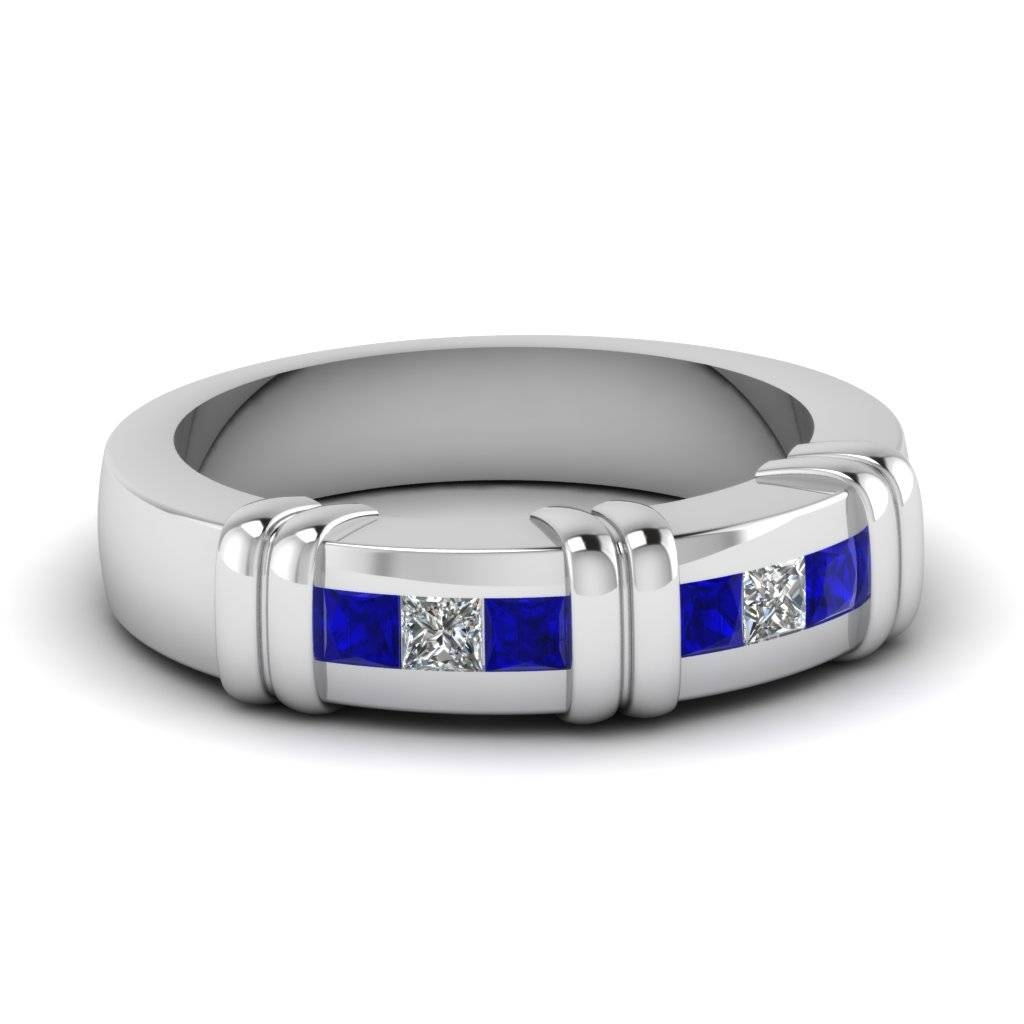 White Gold Princess Blue Sapphire Mens Wedding Ring With White With Men's Blue Sapphire Wedding Bands (View 12 of 15)