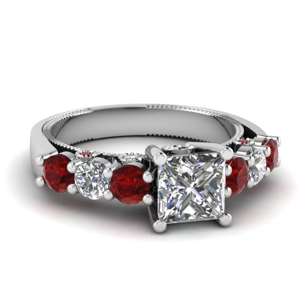 White Gold Princess White Diamond Engagement Wedding Ring With Red Throughout Diamond And Ruby Engagement Rings (View 6 of 15)