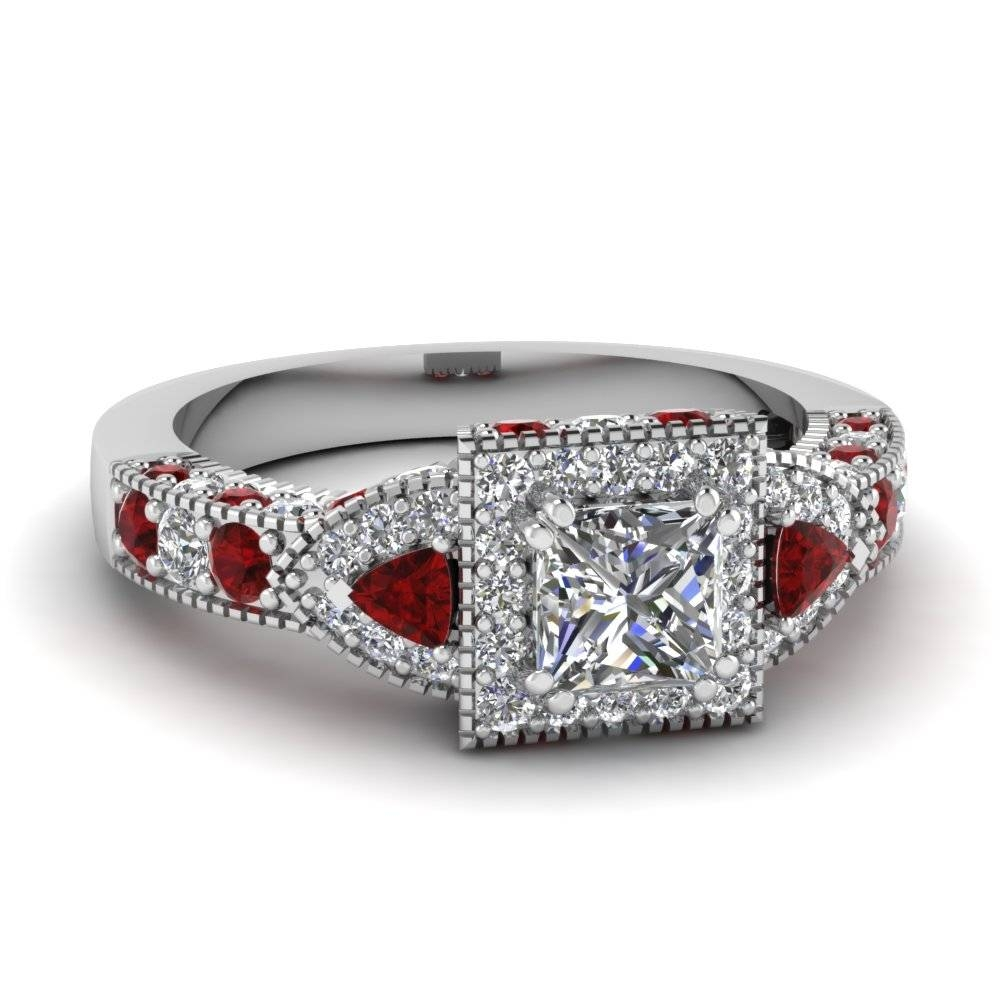 White Gold Princess White Diamond Engagement Wedding Ring With Red With Regard To Engagement Rings Ruby And Diamond (View 14 of 15)