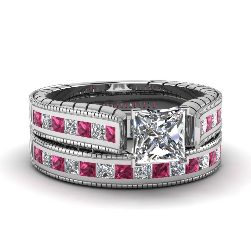 White Gold Princess White Diamond Engagement Wedding Ring With Throughout Sapphire And Diamond Wedding Rings (View 15 of 15)