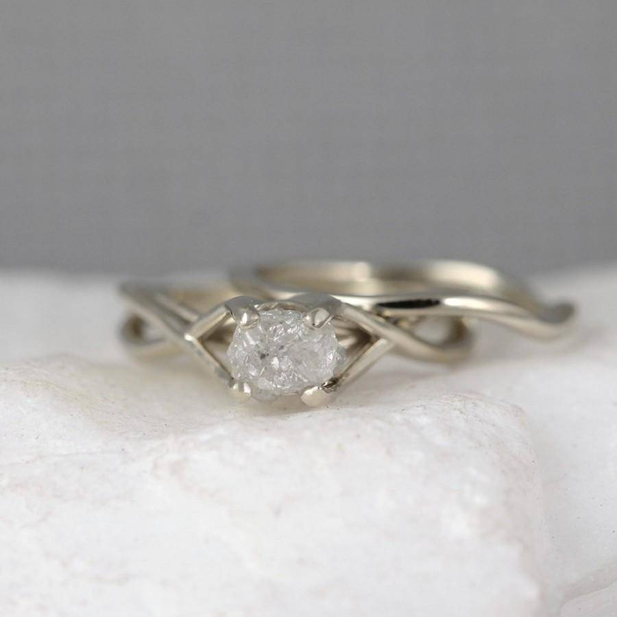 White Gold Raw Diamond Engagement Ring And Wedding Band – Infinity For Wedding Band For Infinity Engagement Rings (View 12 of 15)
