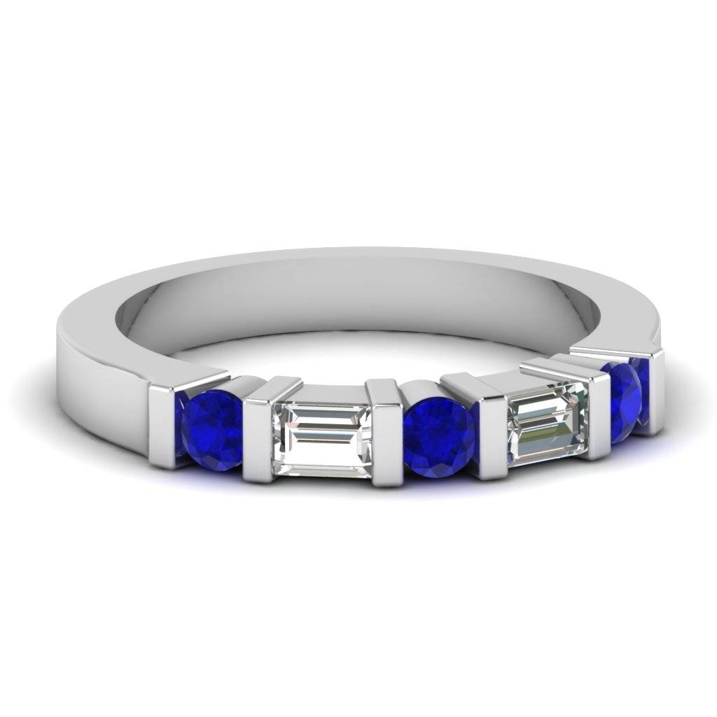 White Gold Round Baguette Blue Sapphire Wedding Band With White Throughout Wedding Rings With Diamonds And Sapphires (View 12 of 15)