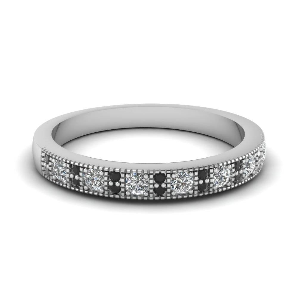 White Gold Round Black Diamond Wedding Band With White Diamond In Pertaining To Black Diamond Wedding Bands For Her (View 14 of 15)