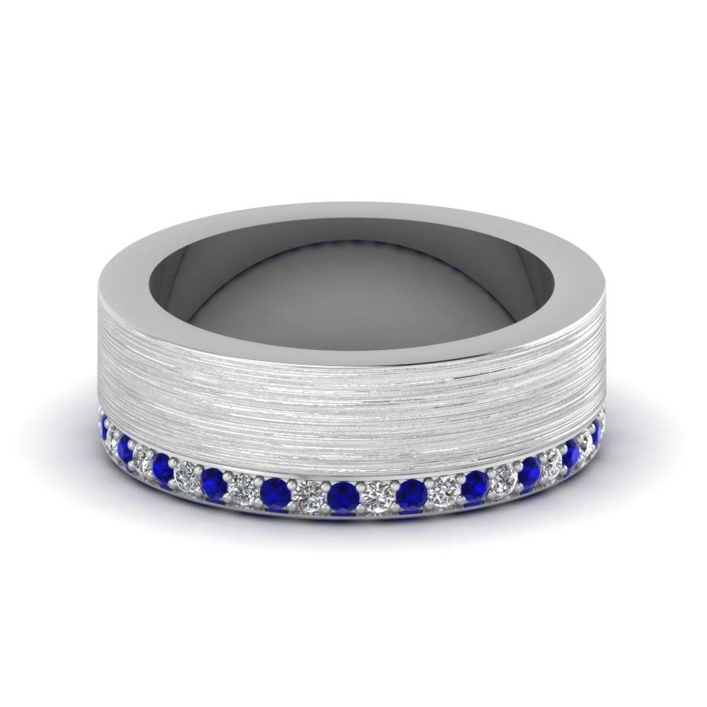 White Gold Round Blue Sapphire Mens Wedding Band With White With Blue Sapphire Men's Wedding Bands (View 13 of 15)