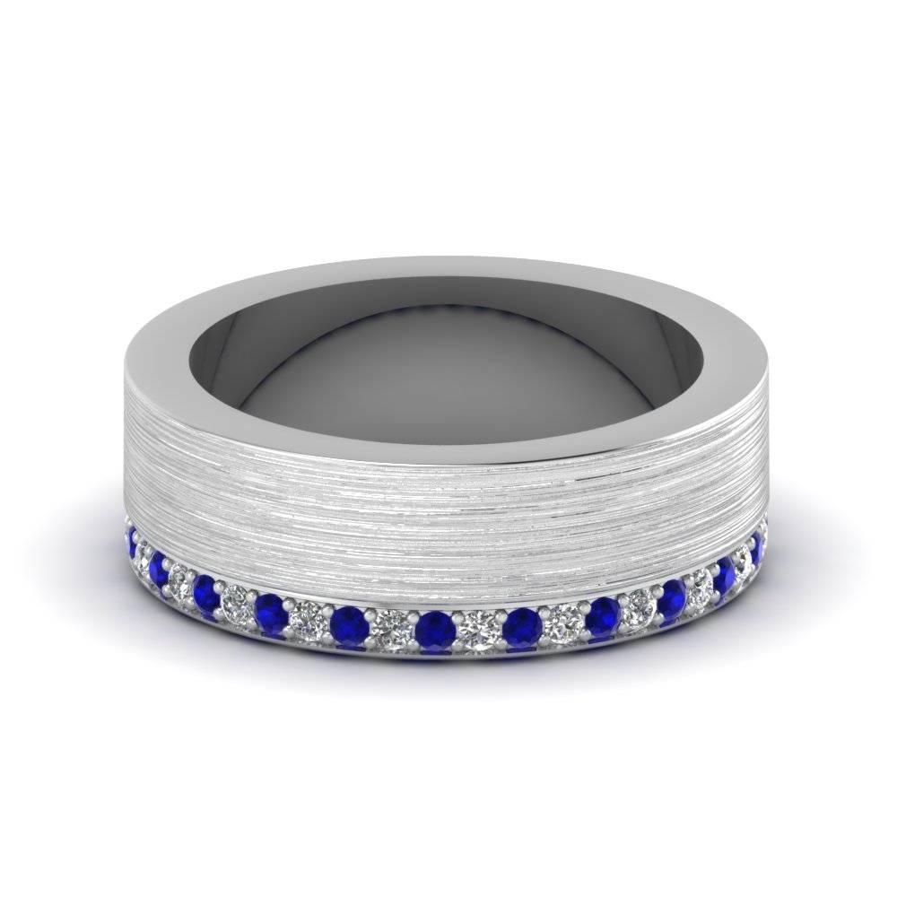 White Gold Round Blue Sapphire Mens Wedding Band With White With Blue Sapphire Men's Wedding Bands (View 13 of 15)